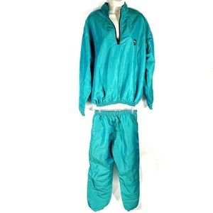 Vintage Surf Style Teal Turquoise Track Suit
